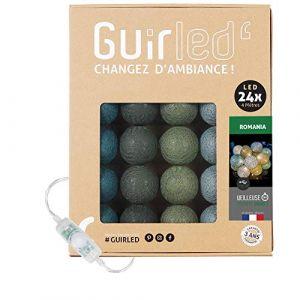 Guirlande lumineuse boules coton LED USB - Veilleuse bébé 2h - Adaptateur secteur double USB 2A inclus - 3 intensités - 24 boules 4m - Romania (Lighting Arena, neuf)