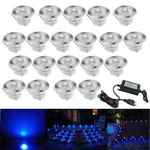 20 Kit Spot LED Eclairage Extérieur Encastrable Sol Terrasse Bois,45mm Spots Encastré Extérieur Fait en IP67 DC12V 1W Avec Alimentation EU Pour Jardin Escalier Patio Bleu (CHENXU, neuf)