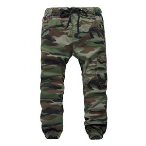 YoungSoul Pantalons garçon - Jogging avec Chevilles imprimé Camouflage - Pantalon Cargo à Taille élastique Armée Verte(Regular Fit) 11-12 Ans (YoungSoul - EU, neuf)