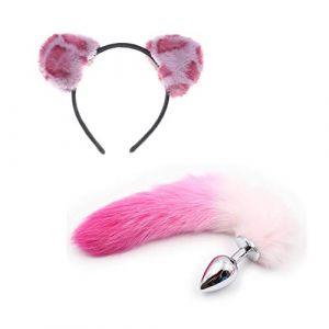2 pièces queue de renard + oreilles de chat en dentelle serre-tête court cheveux artificiels coiffe rose (Jin Yulong, neuf)