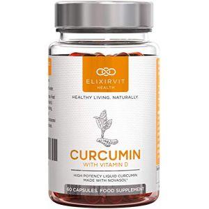 Elixirvit Curcumine Liquide Avec Vitamine D – 185 X Plus Biodisponible Que le Curcuma/Curcumine Standard – Immédiatement Absorbable – 60 Gélules NovaSOL Curcumine (Elixirvit, neuf)