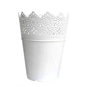 Leisial Solide Couleur Pot de Fleurs Vase à Plante Décoration de la Maison Support Stylo en Plastique Style Creux Floral Organisateur de Pinceau de Maquillage (Dingzhenlier, neuf)