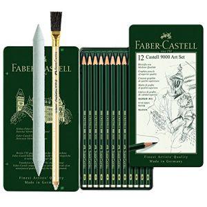 Faber-Castell 119065 - Castell 9000, Lot de 12 crayons à papier 8 B 2 H + Estompe + crayon à gomme (allpremio, neuf)