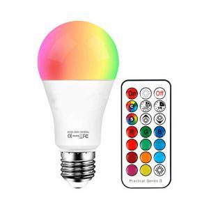 Ampoules LED RGB Couleur Changement Dimmable 10W LED Bulbs E27 RGBW avec Télécommande Telecommande Sans Fil,RGB 12 Choix de Couleur+Blanc 6500k (ChangM, neuf)