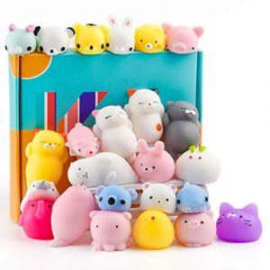KUUQA 25 Pcs Mochi Squishy Jouets Kawaii Squishies Animaux Panda Chat Patte Mignon Mini Doux Squeeze Stress Reliever Balls Jouets D'anniversaire Sac De Fête Cadeaux Faveurs pour Enfants Adulte (KUUQA DIRECT, neuf)