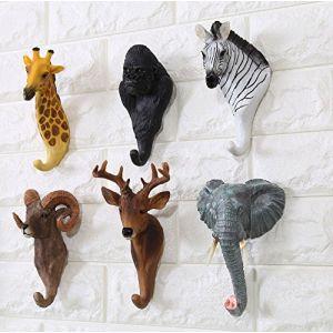 Here&There 3D Mignon Animal Patère Porte-manteau Crochets Mural en Résine Decoration Bébé Enfant Chambre(Chimpanzé) (Here&There Trade .Ltd, neuf)