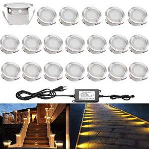 Lot de 20 QACA Spot Extérieur LED Lumiere Eclairage pour Terrasse Enterré Plafonnier, Lampe Extérieur Déco Pour Chemin Bassin Piscine DC 12V Etanche IP67 (Blanc Chaud) [Classe énergétique A] (SCQACA, neuf)