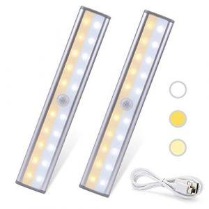 Veilleuse Lampes 20 LED de Placard-2 Modes d'Éclairage Portable Sans Fil, Lampes Rechargeable USB, Aimanté, Lumière-Détecteur de Mouvement,à Armoire, Cuisine, Escalier, Couloir, Chambre (Yunyihui, neuf)