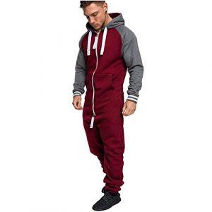 Combinaison Pyjama Homme Ensembles Capuche Grenouillere Long Adulte Salopette Jumpsuit Imprimé Zip Pantalon de Sports Muscle Zipper Youngii(Rouge D,XXL) (Youngii, neuf)