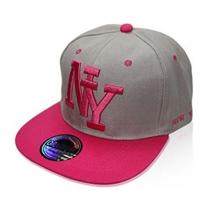 Casquette Snapback Nouveau Modèle New York - NY gris rose, Umfang: ca. 52-58 cm (beybeyquality, neuf)