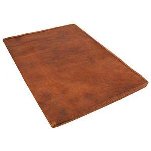 """Gusti Cuir nature """"Brenda"""" couverture de livre protège-document protège-cahier protège bloc-notes format A4 homme femme cuir de chèvre marron foncé P5 (Gusti Cuir, neuf)"""