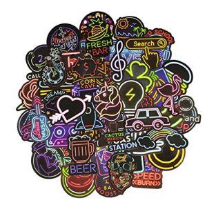 YGSAT Lot de 100 Stickers Stickers Couleurs Fun pour Sugar Stickers Sticker Factory Lot de Stickers,Stickers Casque Moto,Planche Ordinateur.?Série Néon? (YGSAT, neuf)