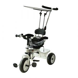 HOMCOM Tricycle pour Enfant Evolutif Pare-Soleil Pliable Canne Télescopique Panier 103 x 47 x 101cm Fer Blanc (Aosom fr, neuf)
