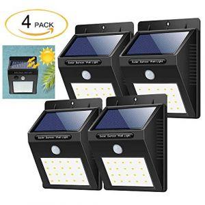 Lampe Solaire Extérieur-4 Pack, 20 LED Solaire Extérieur avec Etanche IPX6 Détecteur de Mouvement, Lumière Solaire Extérieur pour Jardin, Maison, Garage, Cour, Mur, Escalier, Patio etc (SG Top, neuf)