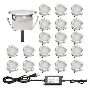 Lot de 20 QACA Spot Extérieur LED Lumiere Eclairage pour Terrasse Enterré Plafonnier, Lampe Extérieur Déco Pour Chemin Bassin Piscine DC 12V Etanche IP67 (Blanc Froid) (SCQACA, neuf)