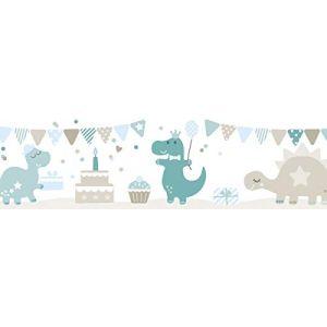 lovely label Frise murale adhésive enfant à motifs fête des dinosaures petrol-taupe-bleu clair - Frise chambre enfant garçon de 450 x 11.5 cm - Décoration murale chambre bébé autocollante (design your home, neuf)