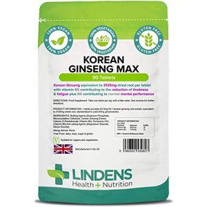 Lindens Ginseng coréen Max (Panax) 3 125mg en comprimés | 90 Lot | Extrait uniformisé de ginseng coréen (également appelé Panax Ginseng) fournissant l'équivalent de 3125mg de racine séchée par comprimé (Authentic Vitamins, neuf)