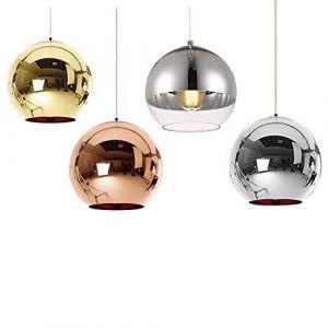 Huahan Haituo Abat-jour Moderne Cuivre Miroir Lustre Boule Suspension globe en Chrome avec fil 120CM,Diamètre (Argent, 20cm) (Huahan Extension, neuf)