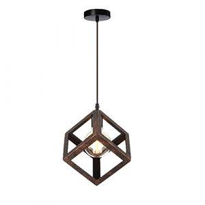 STOEX Suspension Luminaire Industrielle Contemporain, Lustre Abat-Jour Plafonnier en Métal Fer Cage E27 (Cube-Rouille) (STOEX, neuf)