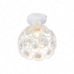 Plafonnier Moderne Industriel Luminaire en Métal, Suspensions Lustres Abat-Jour Blanc Lampe de plafond E27 éclairage Décoration (20cm) (DOO2U, neuf)
