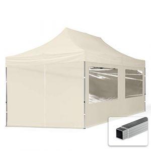 TOOLPORT Tente Pliante 3x6 m - 4 côtés Aluminium Barnum Chapiteau Pliant Tonnelle Stand Paddock Réception Abri PES300 crème (INTENT24, neuf)