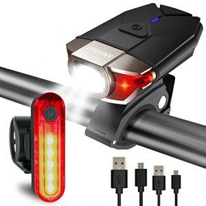 ITSHINY Ensemble d'éclairage de vélo, Kit lumière de vélo USB Rechargeable (Noir) (ITSHINY FR, neuf)