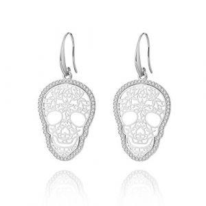 Boucle d'oreille Dangle pour les femmes, boucles d'oreilles de goutte de crâne Boucles d'oreilles or ou argent avec boucle d'oreille en cristal CZ en acier inoxydable (Plaqué argent) (OuRan Jewelry, neuf)