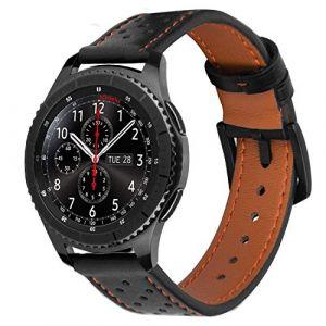iBazal 22mm Bracelet Cuir pour Samsung Gear S3 Frontier/Classic SM-R760, Samsung Galaxy Watch 46mm, Moto 360 2nd Gen 46mm, Huawei Watch 2 Classic - Noir/Orange (ibazal, neuf)