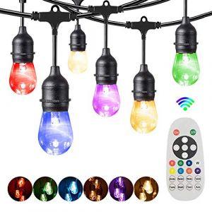 LED Guirlande Guinguette Coloré,Bomcosy S14 30M RGBW Guirlande Lumineuse Extérieure et Intérieure,IP65 étanche,30+2 Dimmable Ampoules pour Jardin,Magasin,Terrasse,Salon,Chambre,Blanc Chaud 2700K (AOJA-lighting1, neuf)