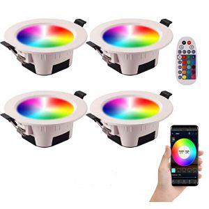 Spot LED Encastrable RGB Couleur Luminosité Réglable 9W 700 Lumens avec Télécommande pour Salon Salle de Bain Cuisine Exposition Couloir (lot de 4) (Xunlefei, neuf)