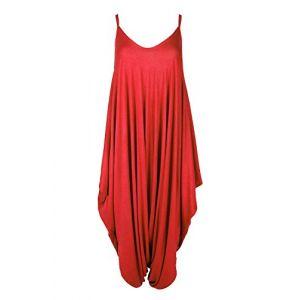 Neuf Pour Femmes Cami Camisole Fin Lanière À Lanières Lagenlook Barboteuse Sarouel Baggy Combinaison - Rouge, M/L EU 40/42 (OG Luxe, neuf)