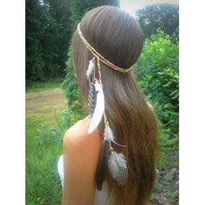 Ushiny Années 1920 bandeau de plumes de Boho coiffe de plumes indiennes coiffe hippie accessoires pour cheveux cheveux pour femmes et filles (brun) (Ushiny, neuf)