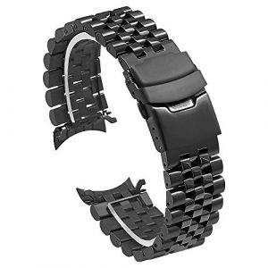 Kai Tian Bracelet montre noir 22mm Boucle déployante en acier inoxydable Bande de remplacement de montre à extrémité courbée pour hommes femmes Tridimensionnel Bracelet effilé (Ka Tian, neuf)