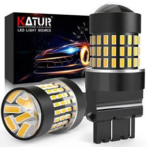 KaTur 3157 3047 3057 3155 3156 Ampoule à LED 900 Ampoules 3014 Ampoule 78SMD à LED pour feu Stop Clignotant feu de recul feu arrière, Ambre (Pack de 2) (KAtur, neuf)