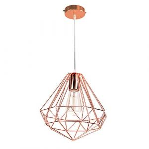 E27 Suspension Lustre Métal Moderne Luminaire Industrielle, Lampes de Plafond Abat-Jour Forme Diamant Métal Décoration d'éclairage pour Cuisine Chambre Escalier (DOO2U, neuf)
