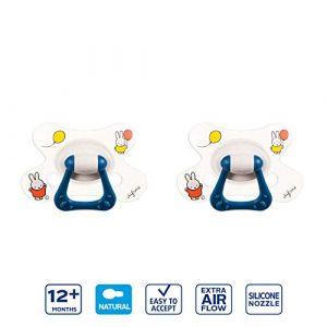 Difrax Natural Sucette 12-18 Mois, Lot de 2 Sucettes avec Tétine Silicone, Facile à Accepter, un Apport Optimal d'Air, Confortable - Miffy (Difrax, neuf)