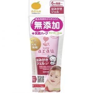 "ARAU BABY TOOTH GEL 35 g SARAYA (TOOTHPASTE) (Couches bébé japonaises Merries , Moony """"Japan Nappies"""" LTD, neuf)"