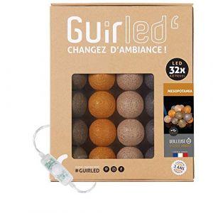 Guirlande lumineuse boules coton LED USB - Veilleuse bébé 2h - Adaptateur secteur double USB 2A inclus - 3 intensités - 32 boules 4.8m - Mesopotamia (Lighting Arena, neuf)