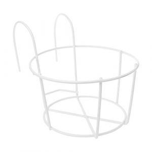 Youlin Support de Pot de Plantes,Fer,avec des Crochets,Rond Balcon Étagère Extérieure Pot de Fleur,pour Maison Garde-Corps De Jardin (Blanc) (Youlin, neuf)
