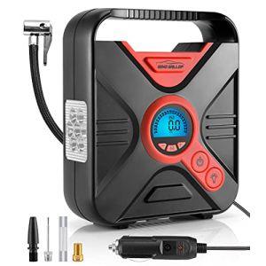 WindGallop Compresseur à Air Portable Gonfleur Electrique Gonfleur Pneus Voiture Mini Compresseur Voiture 12V Pompe A Velo Electrique avec Manomètre, Adaptateurs De Valve Et éclairage LED (Rouge) (WindGallopfrDirect, neuf)