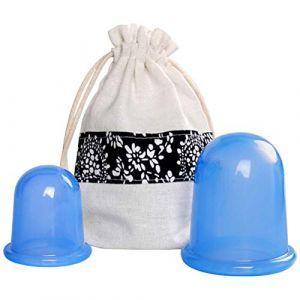 Frcolor 2 Pcs Silicone Vide Ventouses Coupe Anti Thérapie Massage Set Corps Masseur Cou Cou Pompe Médicale (Bleu) (Ansuen, neuf)