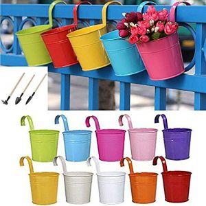 10 Pot de fleurs à suspendre en fer avec crochets amovibles et trous de drainage pour décoration de la maison du jardin ou du balcon +Pelle Râteau Bêche (Chisatoo, neuf)