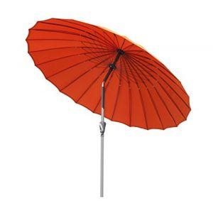 Angel Living Parasol de Jardin avec Pare-Soleil à mécanisme d'inclinaison par manivelle pour Balcon de terrasse (250cm Terre Cuite) (Angel Living Outdoor, neuf)