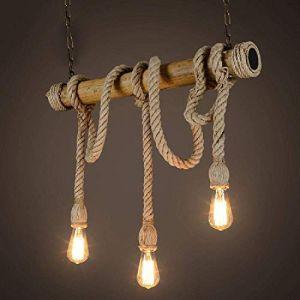 Chandelier suspendu nouveauté corde, lustre 3 têtes, ambiance vintage, corde de chanvre et suspensions en bambou (AnMeiShangMaoYouXianGongSi, neuf)