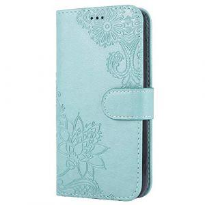 Coque Samsung Galaxy J3 2017 / J330 Housse en Cuir Coque de Protection,Galaxy J3 2017 Portefeuille PU Rétro Motif Fleur en Emboss Premium Etui à Rabat Flip Case Support Coque Etui Galaxy J3 2017,Vert (Uposao, neuf)
