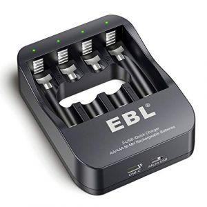 EBL iQuick Chargeur Super Rapide Renouvelé de Piles Rechargeables Ni-MH AA/AAA avec Port USB et USB C (EBL Official, neuf)