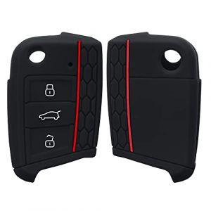 kwmobile Accessoire clé de Voiture pour VW Golf 7 MK7 - Coque pour Clef de Voiture VW Golf 7 MK7 3-Bouton en Silicone Noir - Étui de Protection Souple (KW-Commerce, neuf)