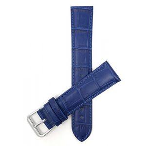 20mm bracelet de montre pour femmes en cuir véritable,bleu royal, motif alligator, aussi disponible en blanc, bleu, rouge, orange, rose, vert foncé (Shoptictoc., neuf)