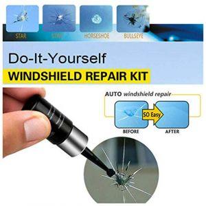 réparation de verre automobile, trousse à outils de réparation de fissures de fissure en verre de vitre de voiture avec résine de réparation de pare-brise, bricolage professionnel (1PCS) (AU-Max, neuf)