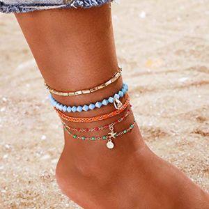 Edary Bracelet de cheville en forme d'étoile de mer en forme d'étoile de mer avec perles pour pied de plage, bijoux pour femme et fille (5 pièces) (EDARY, neuf)